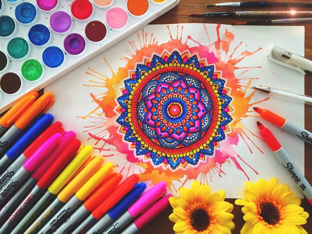 Hey guys! Watercolour splash mandala ❤️ Have a look at my last video to see the…