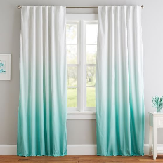 Ombre Blackout Curtain Ocean Themed Bedroom Turquoise Curtains
