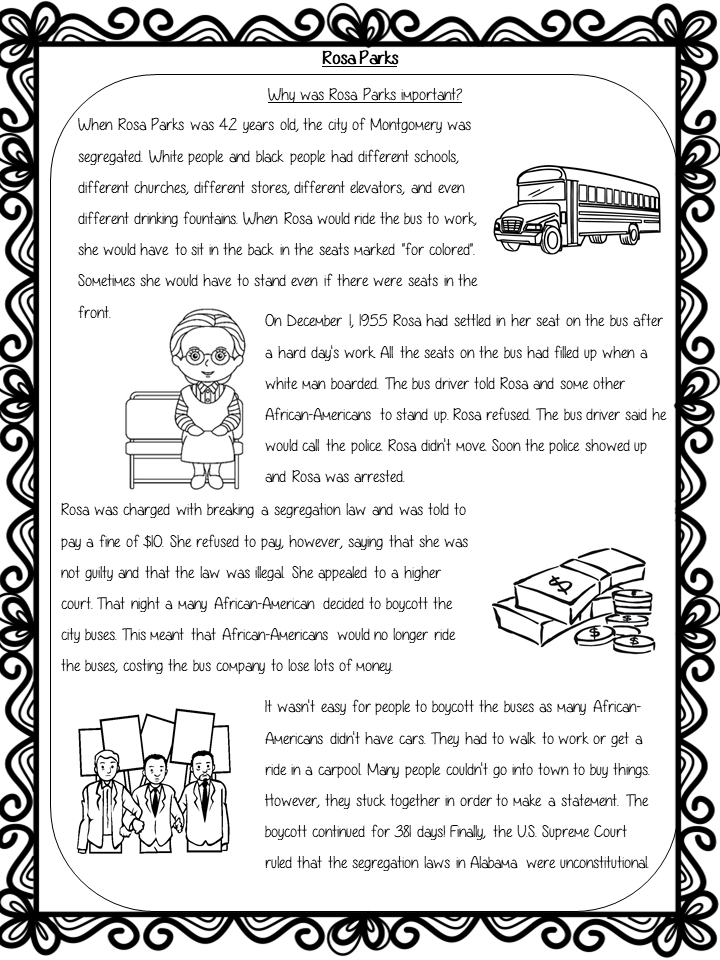 Rosa Parks Powerpoint And Worksheets Lesson From The Ginger Teacher Rosa Parks Rosa Parks For Kids Lesson