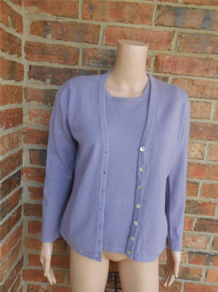 TERRYL 100% Cashmere Sweater Twin Set S / M Size Women Cardigan ...