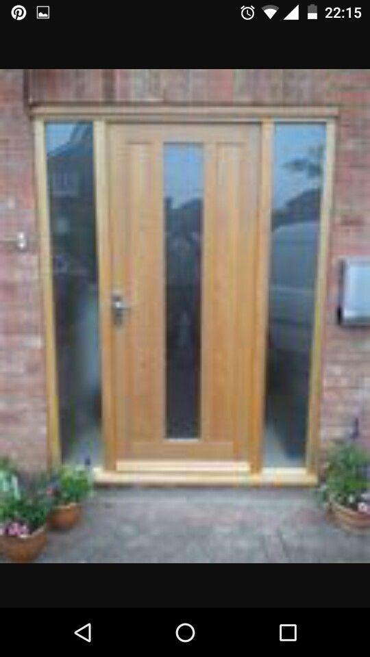 Composite   Front Door   Oak   Glazed   Panel   Sidelights   Front ...
