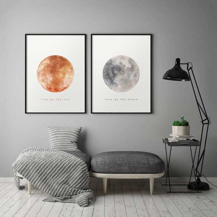 Live By The Sun Love By The Moon Set Of Two Printable Watercolour Print Above Bed Decor Sun And Moon Set Minimalist Modern Wall Art Above Bed Decor Bedroom Art Above