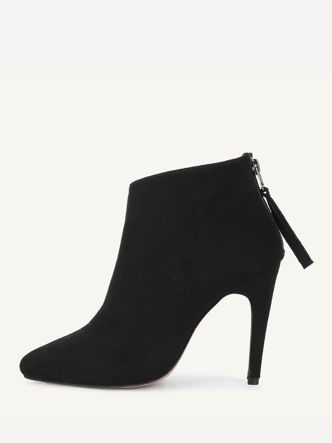 6a1c4519eda Shein Back Zipper Pointed Toe Suede Boots