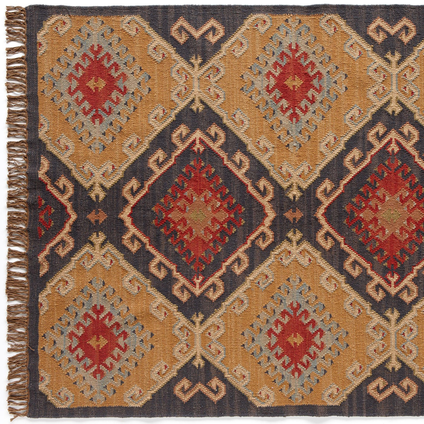 Celestial Diamond Dhurrie It S The Colors Gold Magenta Orange And Brown That Distinguish Our Wool Cotton Dhurrie Handwoven By S Dhurrie Rugs Dhurrie Rugs