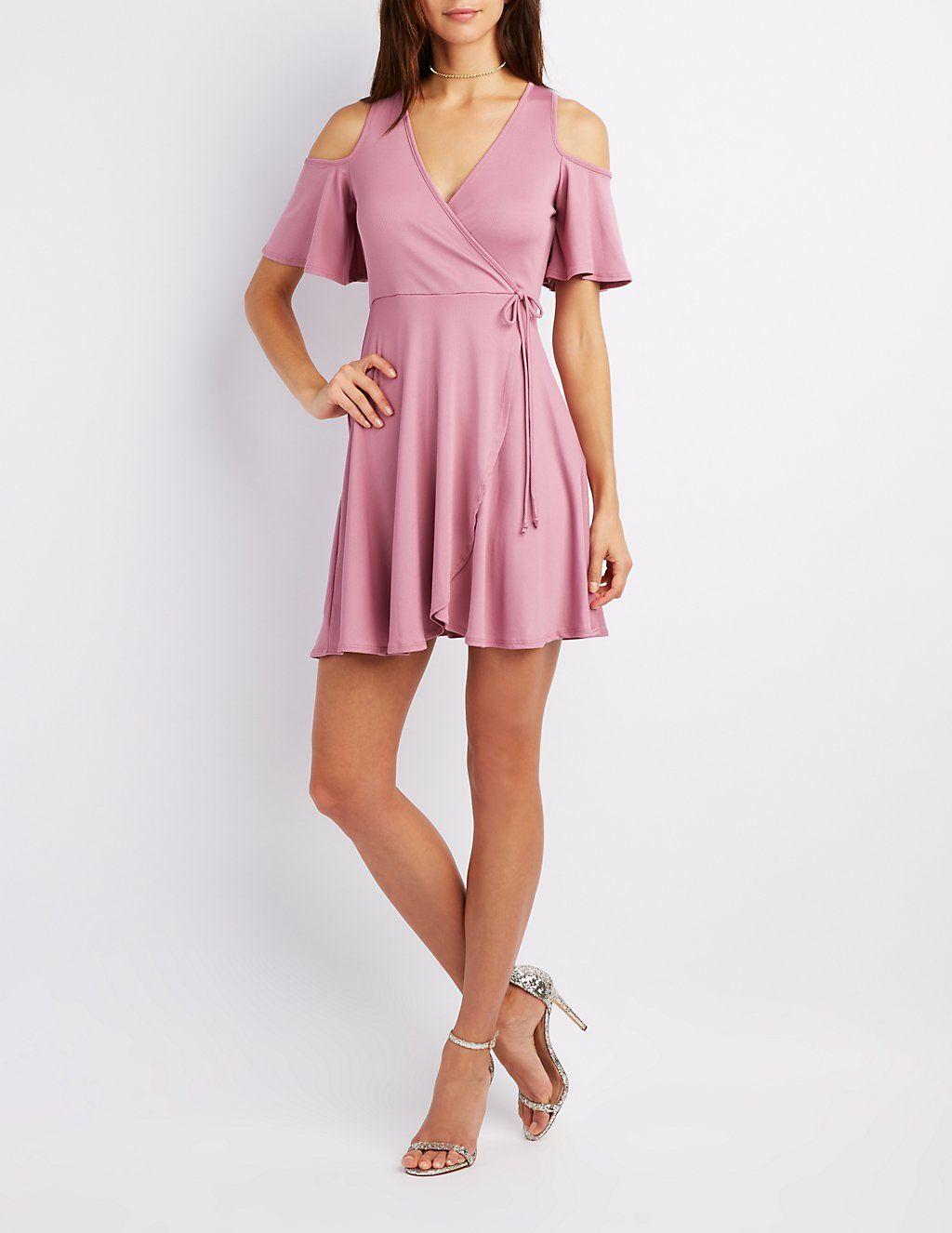 Ribbed Cold Shoulder Wrap Dress Charlotte Russe White Short Dress Dresses Plunging V Neck Dress [ 1326 x 1024 Pixel ]