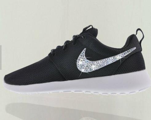 Bling Nike Roshe Run Glitter Kicks - Blinged Nikes White Black White new  2015 shoes nike rosherun nikerosheone  nike  roshe  shoes 54e4d53e49