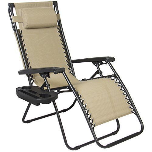 Sunshade Canopy Lounge Chair Zero Gravity Patio Garden Lounger With