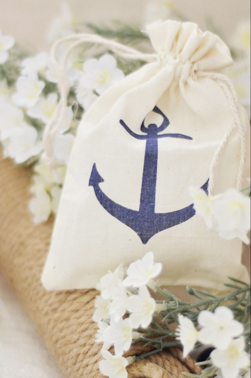 Nautical Wedding Muslin Favor Bags with printed Navy Blue Anchor ...