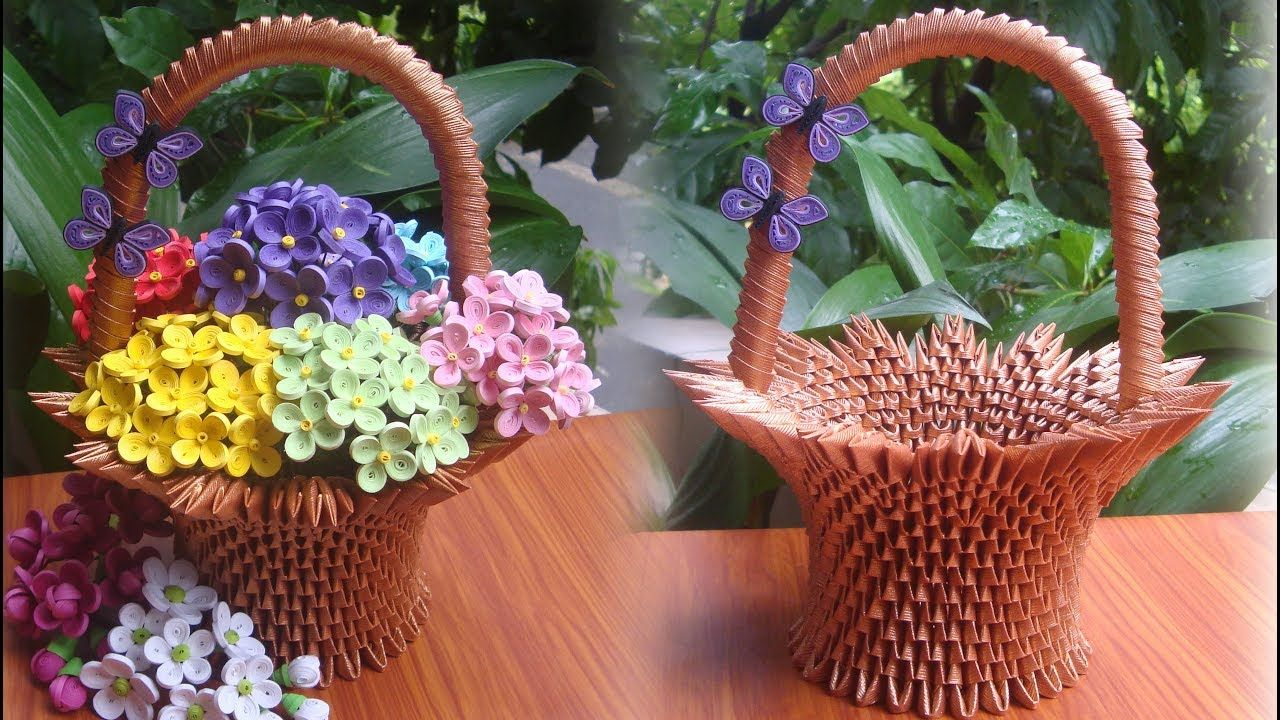 How To Make 3d Origami Flower Basket V2 Cmo Hacer Cesta De Flores