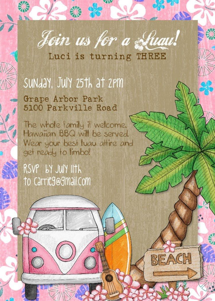luau invite | Luau Party | Pinterest | Luau invitations, Luau and ...