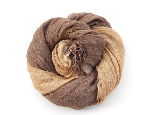 Brown and Tan Ombre Scarf hand dyed Autumn colors