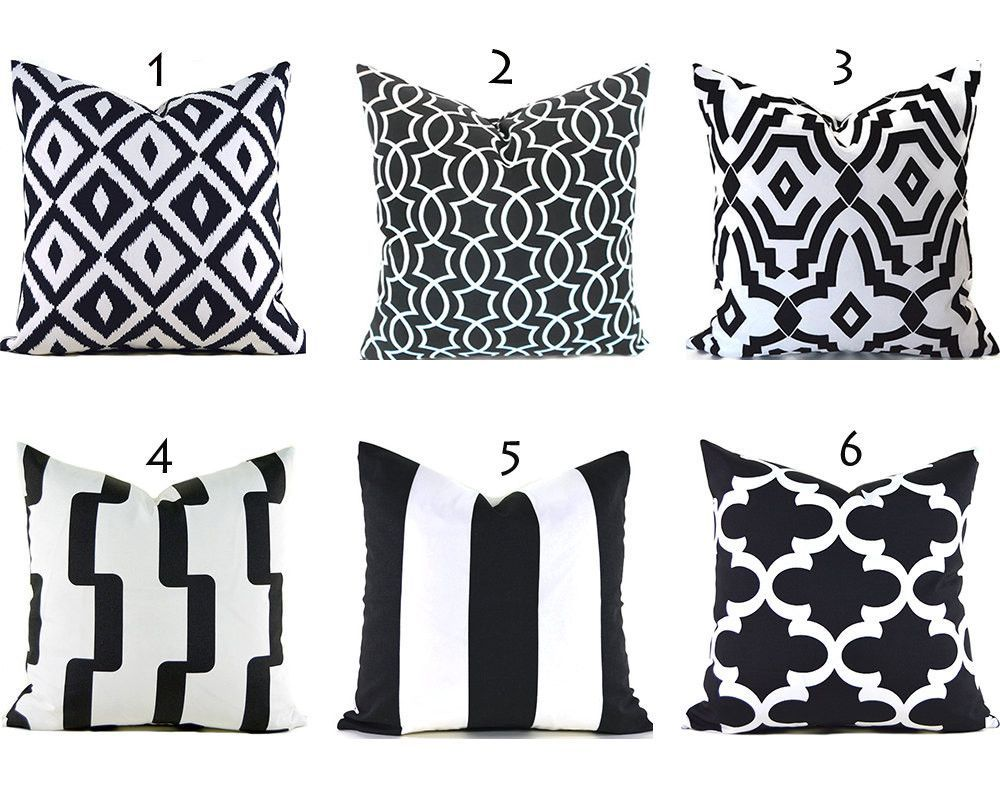 Black Outdoor Pillows ANY SIZE Outdoor Cushions Outdoor Pillow