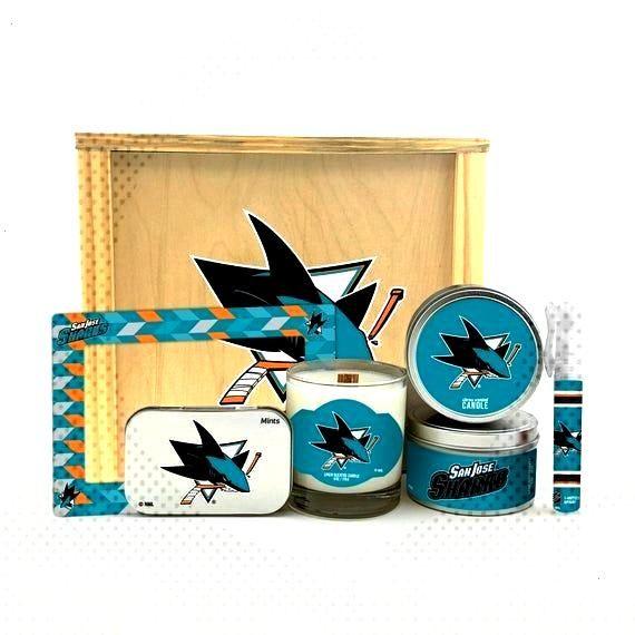 NHL San Jose Sharks Dekor Geschenkset in handgefertigter Aufbewahrungsbox aus Holz | Sechs offiziel