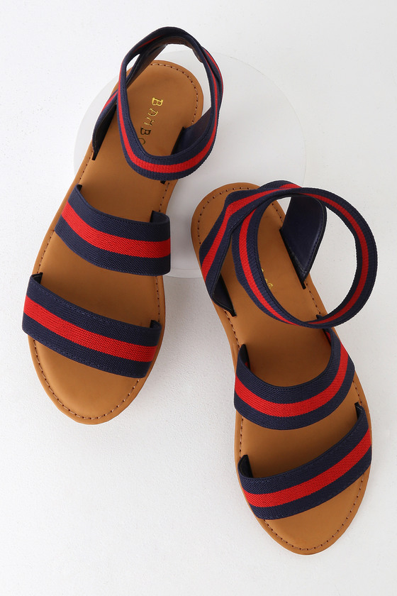 London Navy Multi Striped Sandals