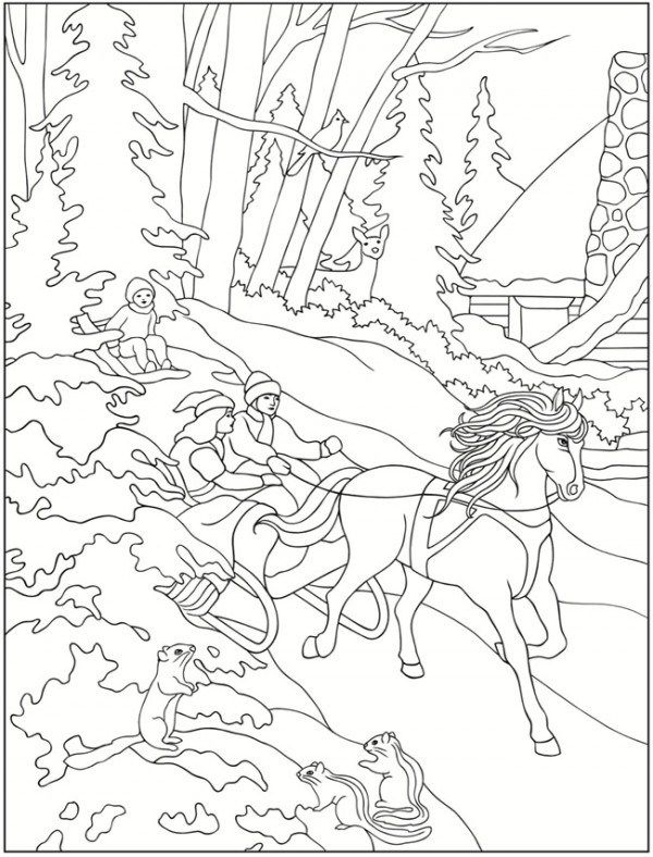 Freebie Winter Scene Images  Great colouring page for kids