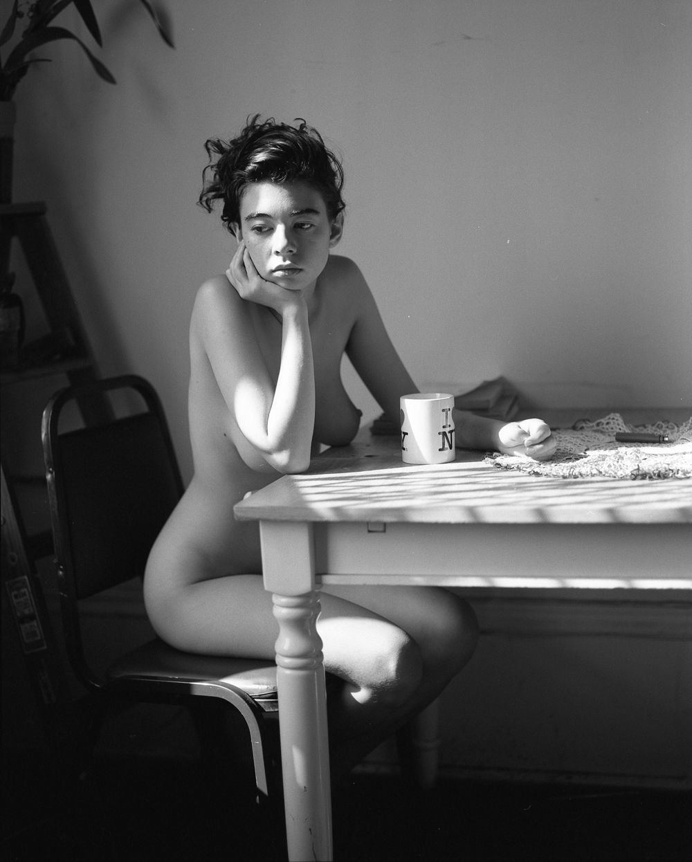woman coffee Naked drinking