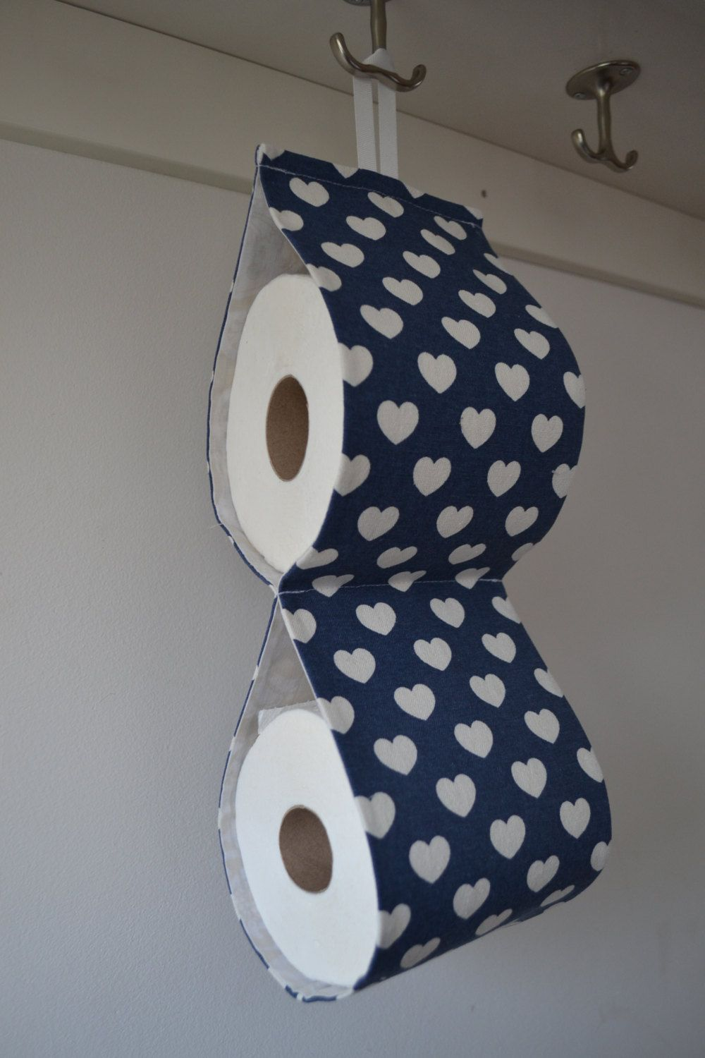 Fabric Spare Toilet Roll Holder Storage For 2 Rolls Navy Canvas Fabric With Cream Heart Home Gift Bath Accessory Toilet Roll Holder Storage Toilet Paper Holder Toilet Roll Holder