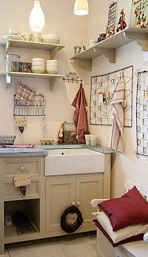 Lovely French Kitchen   Like The Rustic Red Accent Pieces