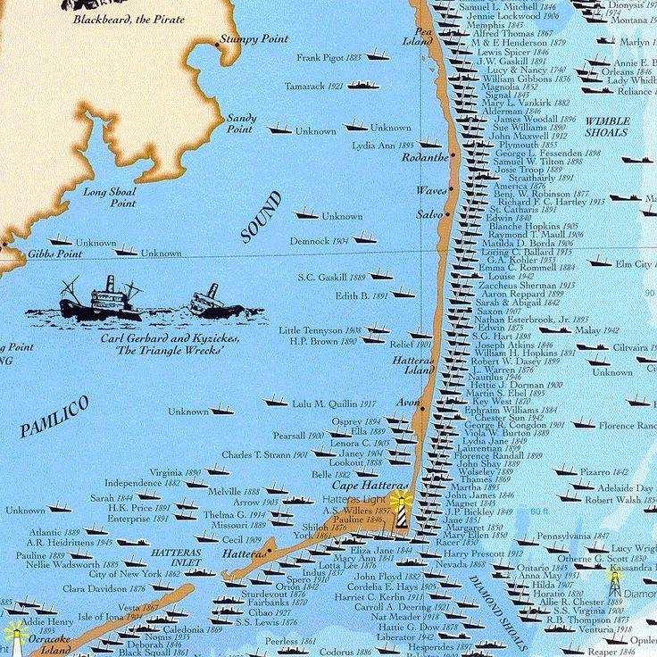 North Carolina Shipwreck Map Shipwrecks of the Outer Banks, North Carolina | Love the Outer