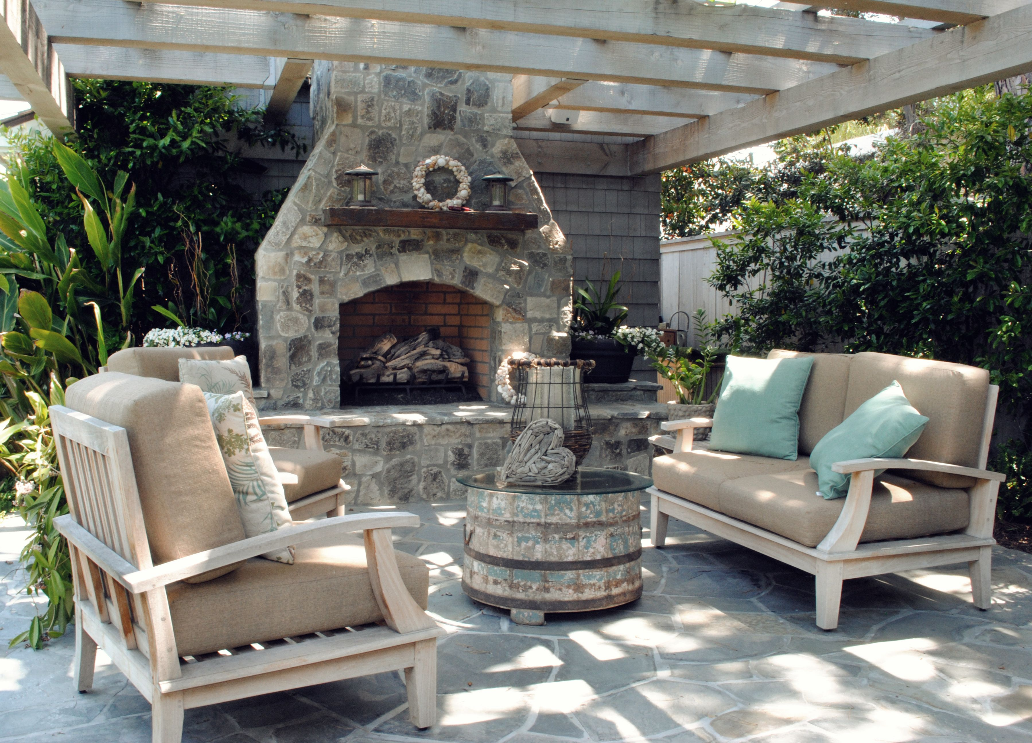 capo beach fireplace stone pergolas and slate
