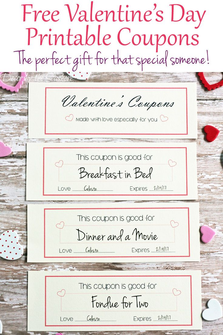 Day for valentines boyfriend coupons Printable Love
