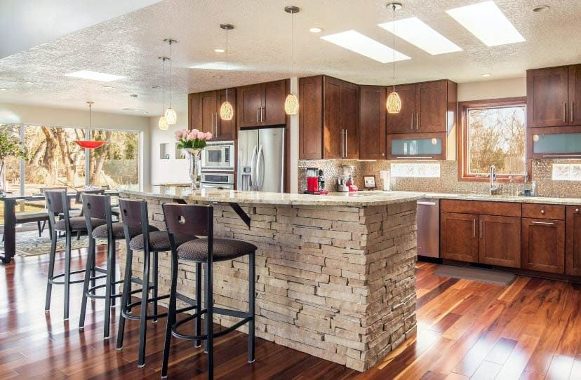 Stacked Stone Design Ideas In 2020 Stacked Stone Stone Kitchen Island Beautiful Kitchen Designs