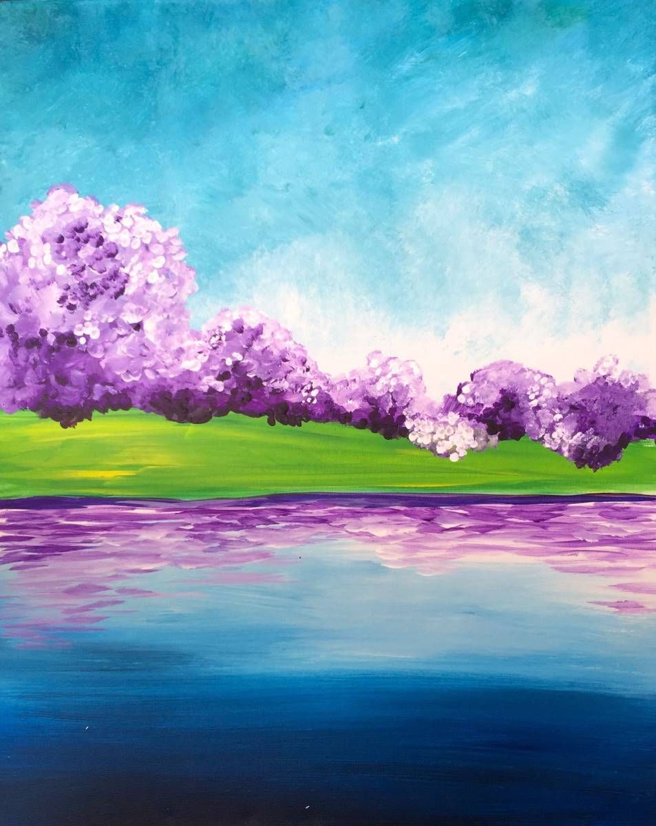 Spring lake 25 canvas painting ideas pinterest for Spring canvas paintings