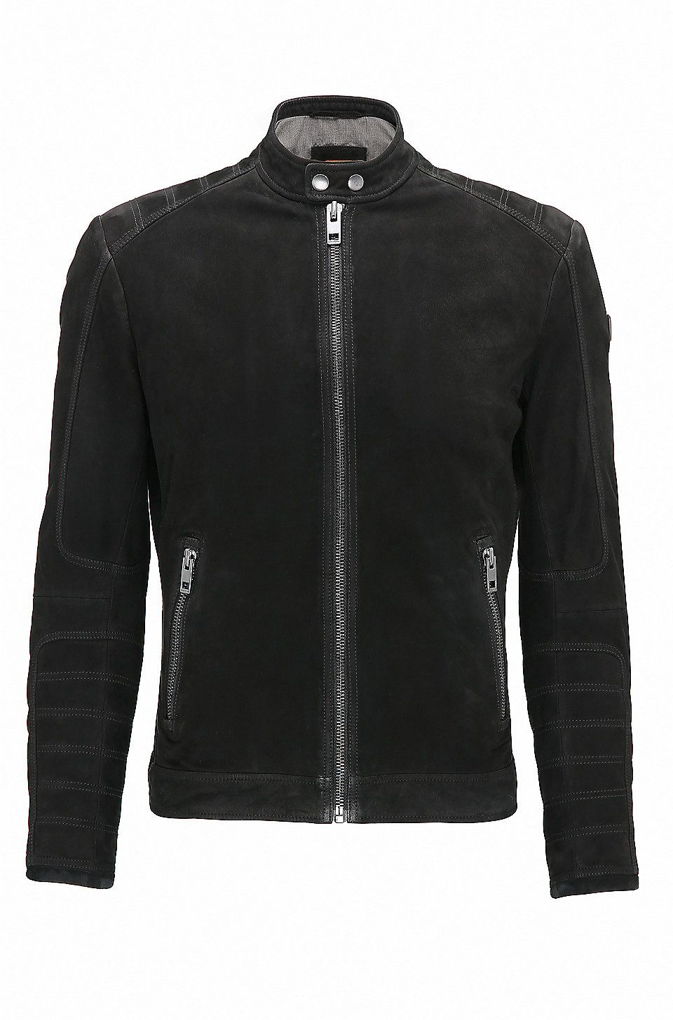 Slimfit suede biker jacket with quilting Black from BOSS