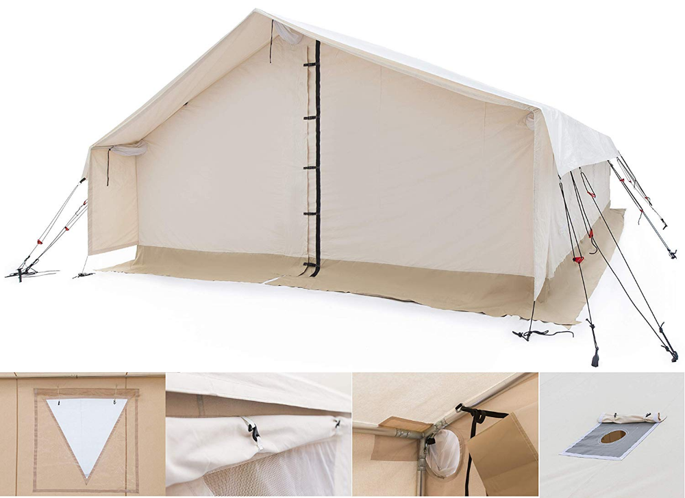 Amazon Com White Duck Outdoors Complete Canvas Wall Tent With Aluminum Frame And Pvc Floor For Elk Hunting Outfitter And Cam Canvas Wall Tent Tent Wall Tent