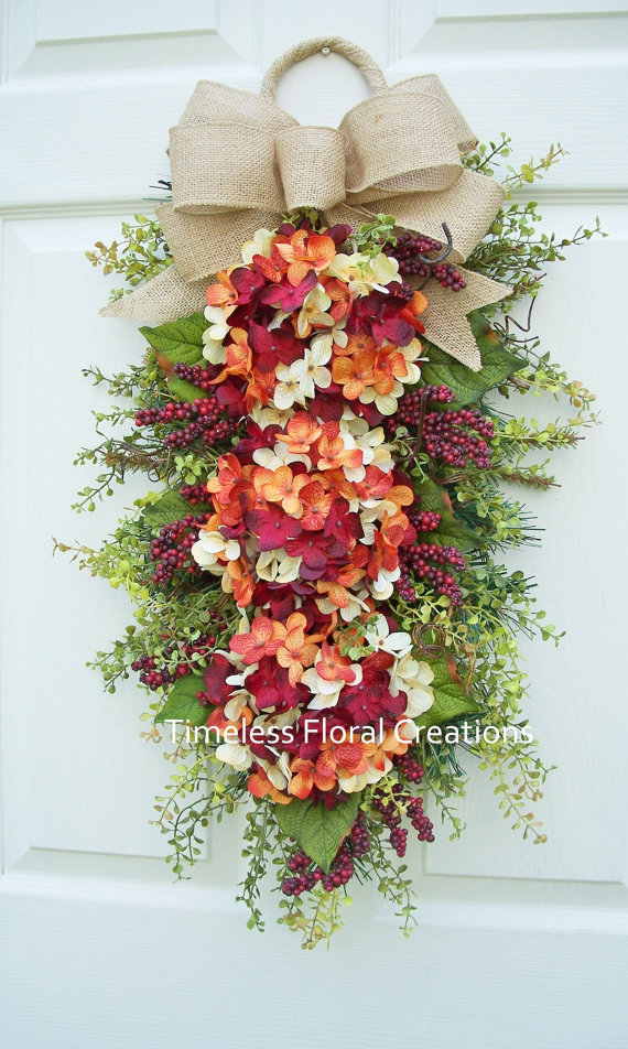 Fall Hydrangea Wreath Swag Berry Tangerine Summer Into Fall Front