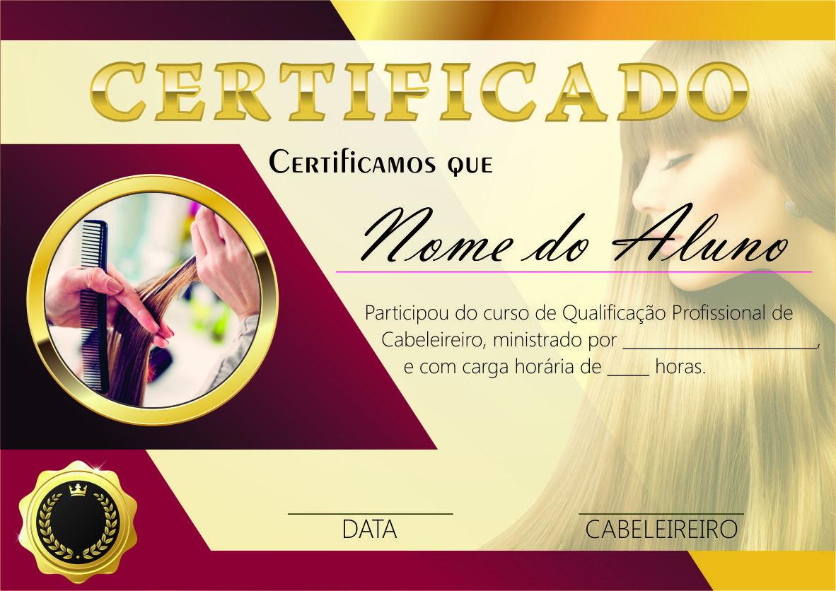 Arquivo Digital Certificado Curso De Cabeleireiro Modelo 03