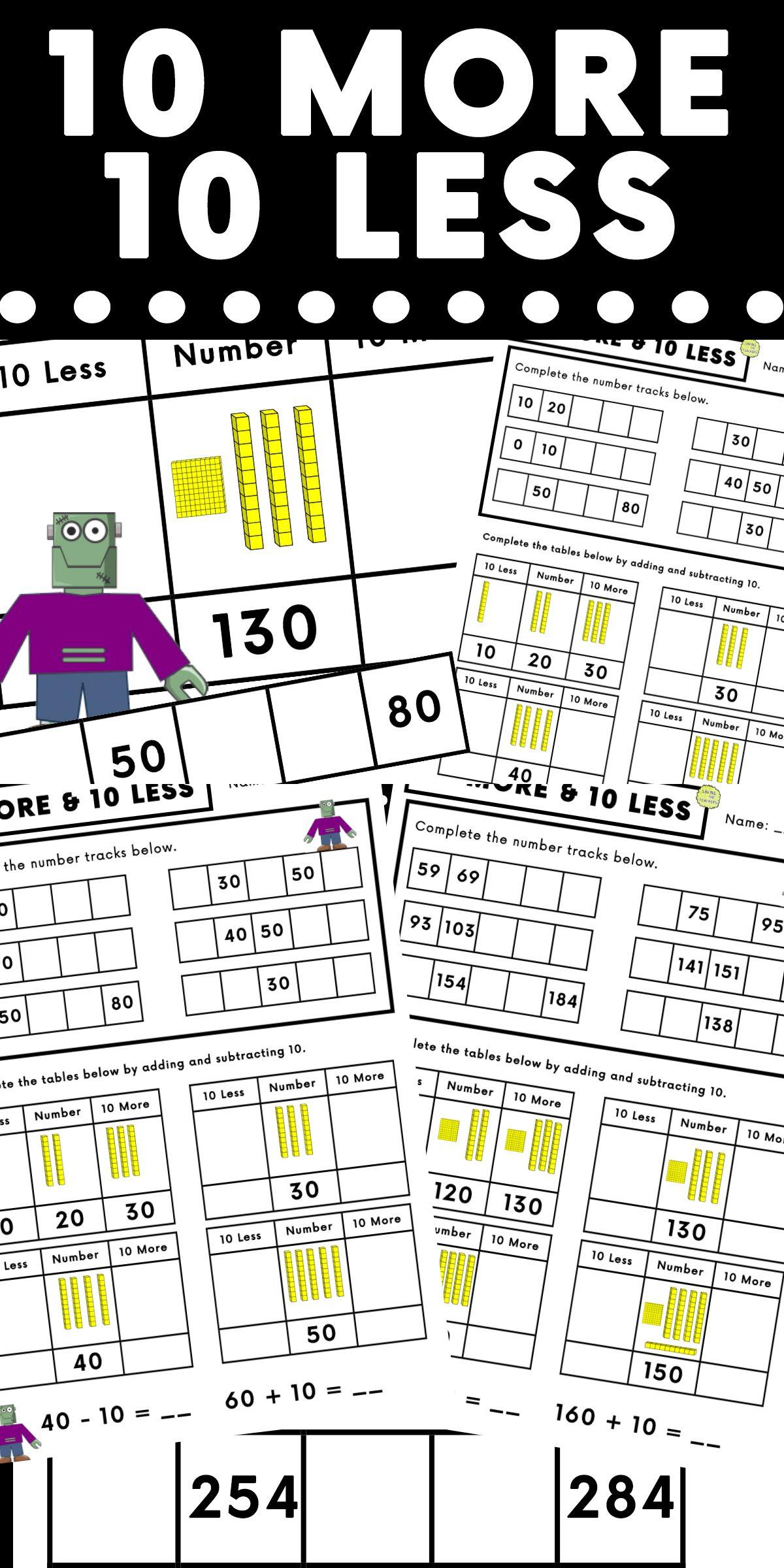 10 More 10 Less Visual Worksheet
