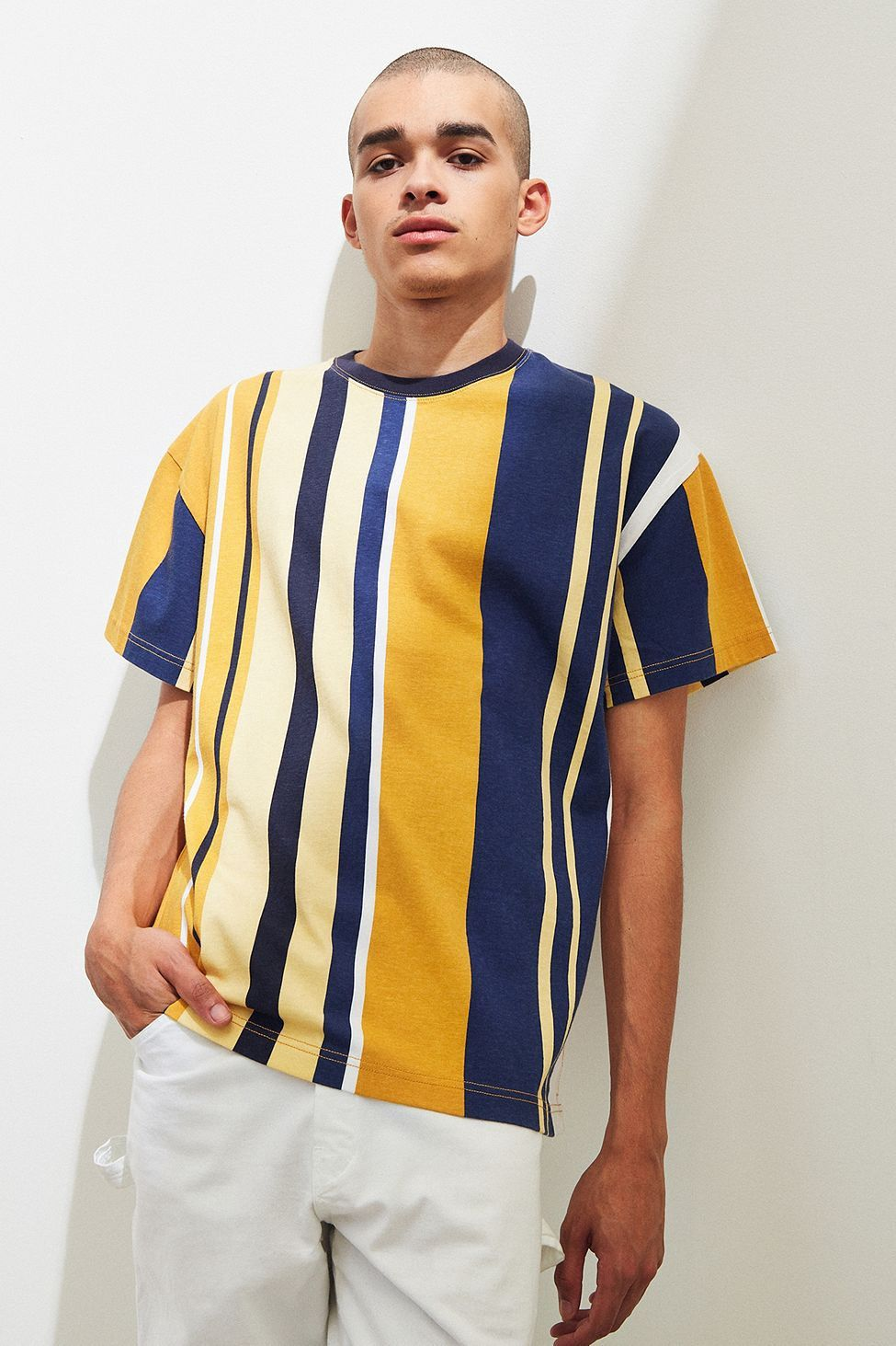 8704550ee Urban Outfitters Uo Wide Vertical Stripe Dad Tee - Yellow Multi M ...