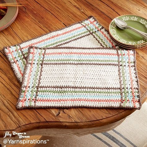 Mad For Plaid Crochet Placemats Free Pattern Yarnspirations