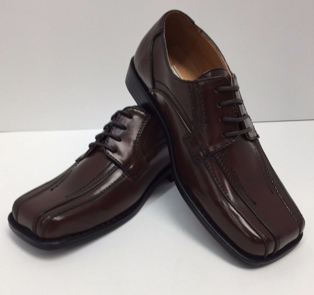 Bolano boys youth brown dress shoes with laces square toe