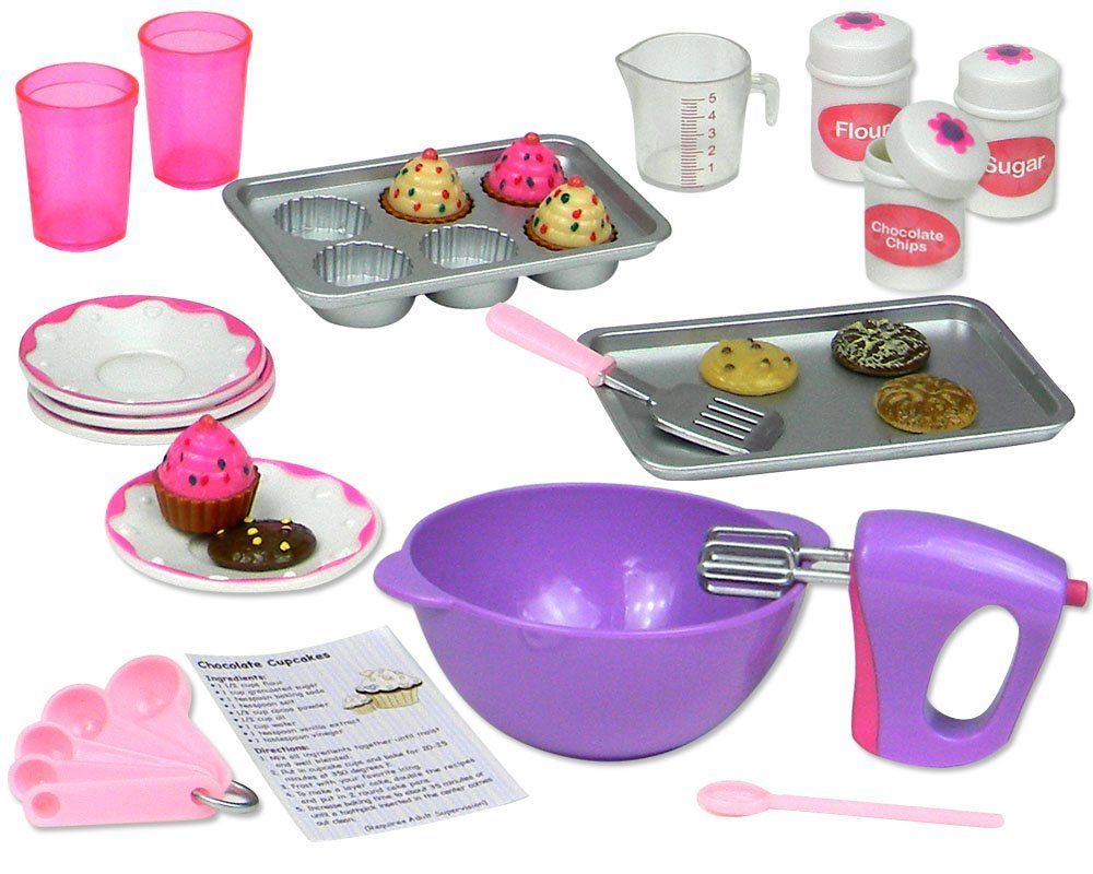 """Amazon.com: 18 Inch Doll Baking Set of 26 Pcs. Fits American Girl Doll Furniture, 18"""" Doll Cookware Set: Toys & Games"""