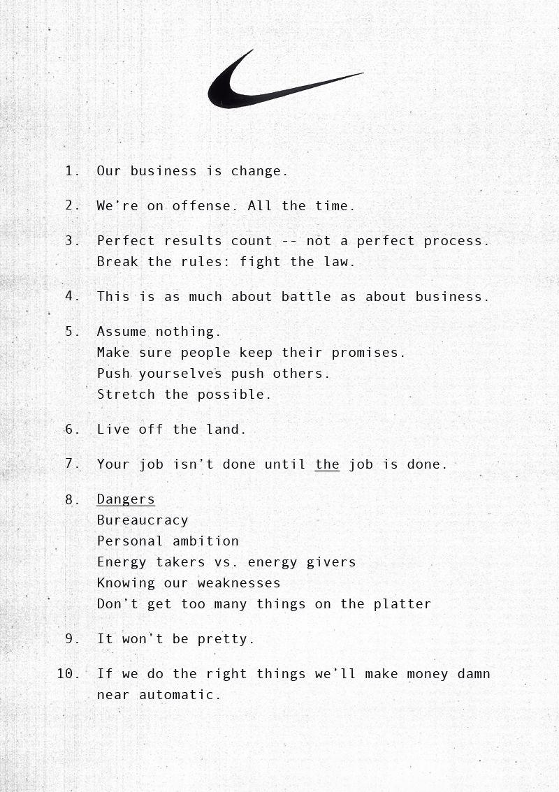Nike #Brand #Principles #Manifesto   brand manifestos   Pinterest ...