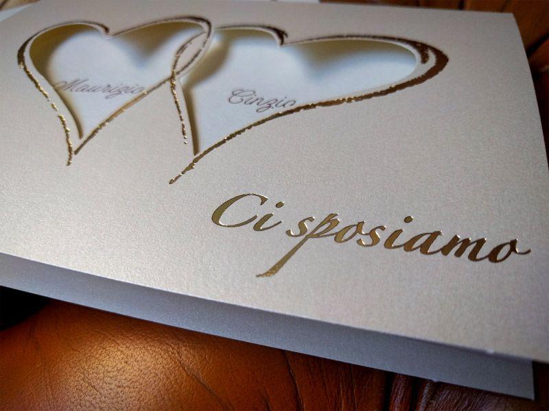 Partecipazioni Di Matrimonio Con Cuori In Oro