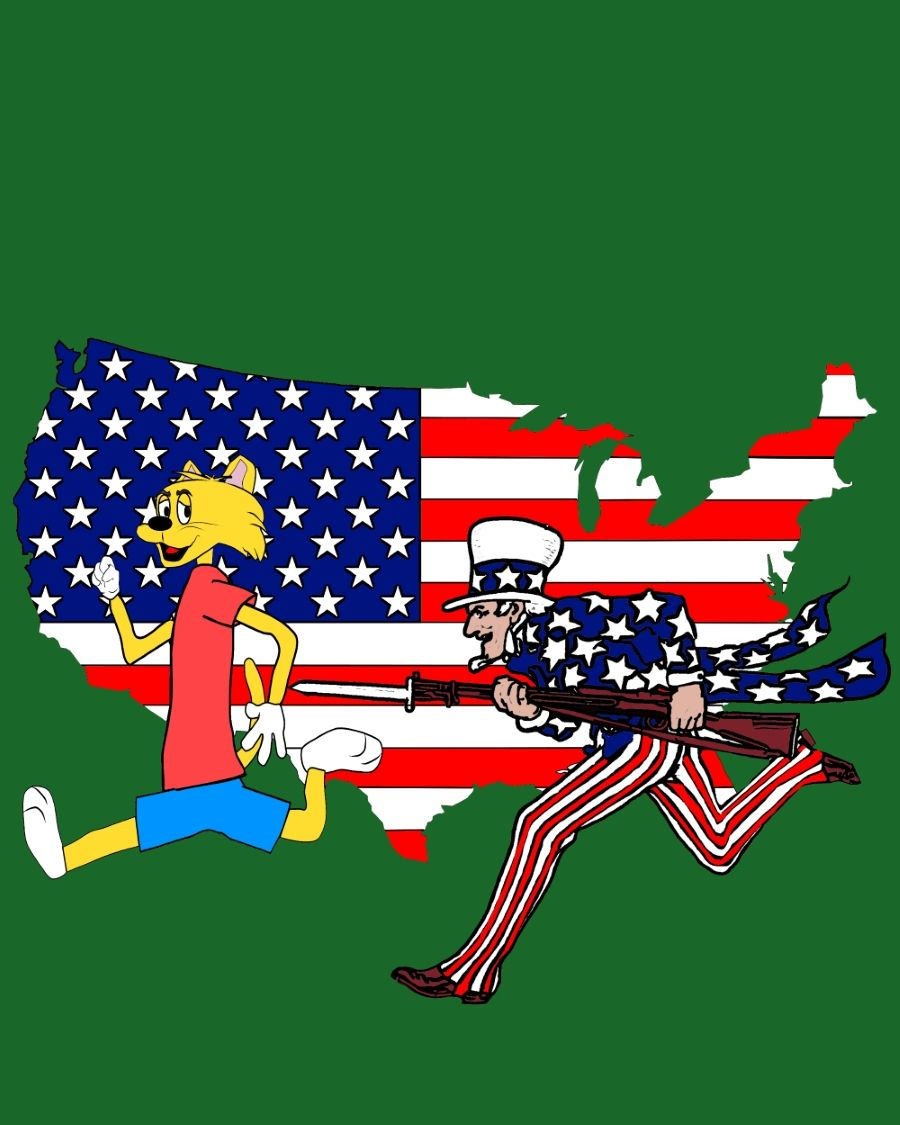 uncle sam chasing lucky cat a colored in page from lucky cats patriotic coloring book - Uncle Sam Hat Coloring Page