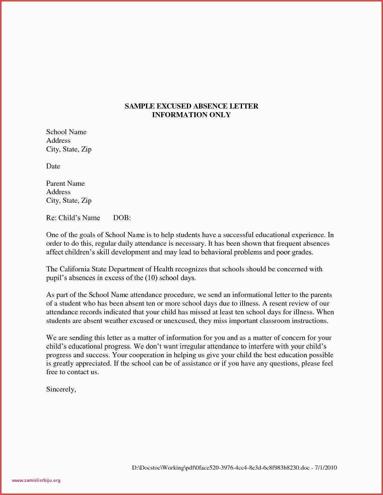 Valid Sample Leave Letter for Kids Pdf Letters for kids