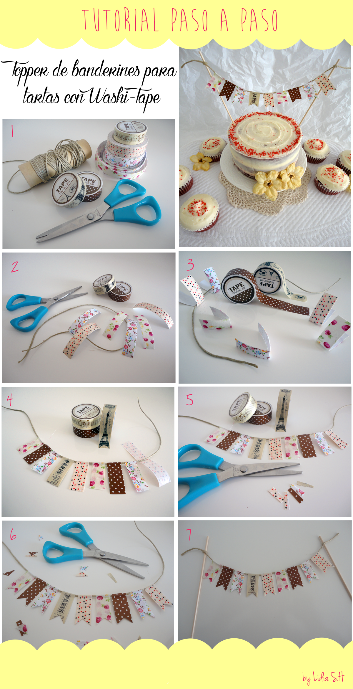 Tutorial: How to make a cake topper with washi-tape?