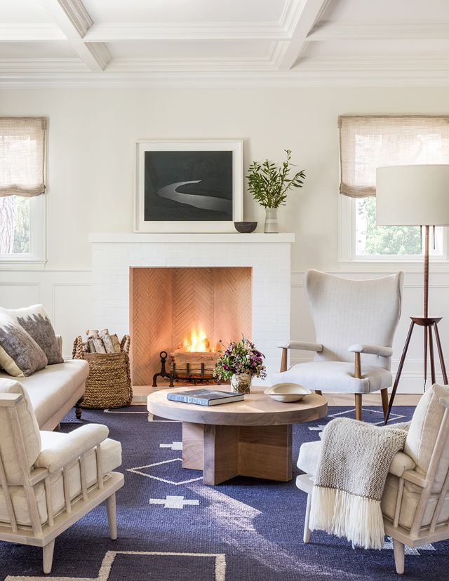Inside a Serene, Inviting Home is part of Small Living Room With Fireplace - Tour a gorgeous, lightdrenched home with bursts of blue that will make you want to kick off your shoes