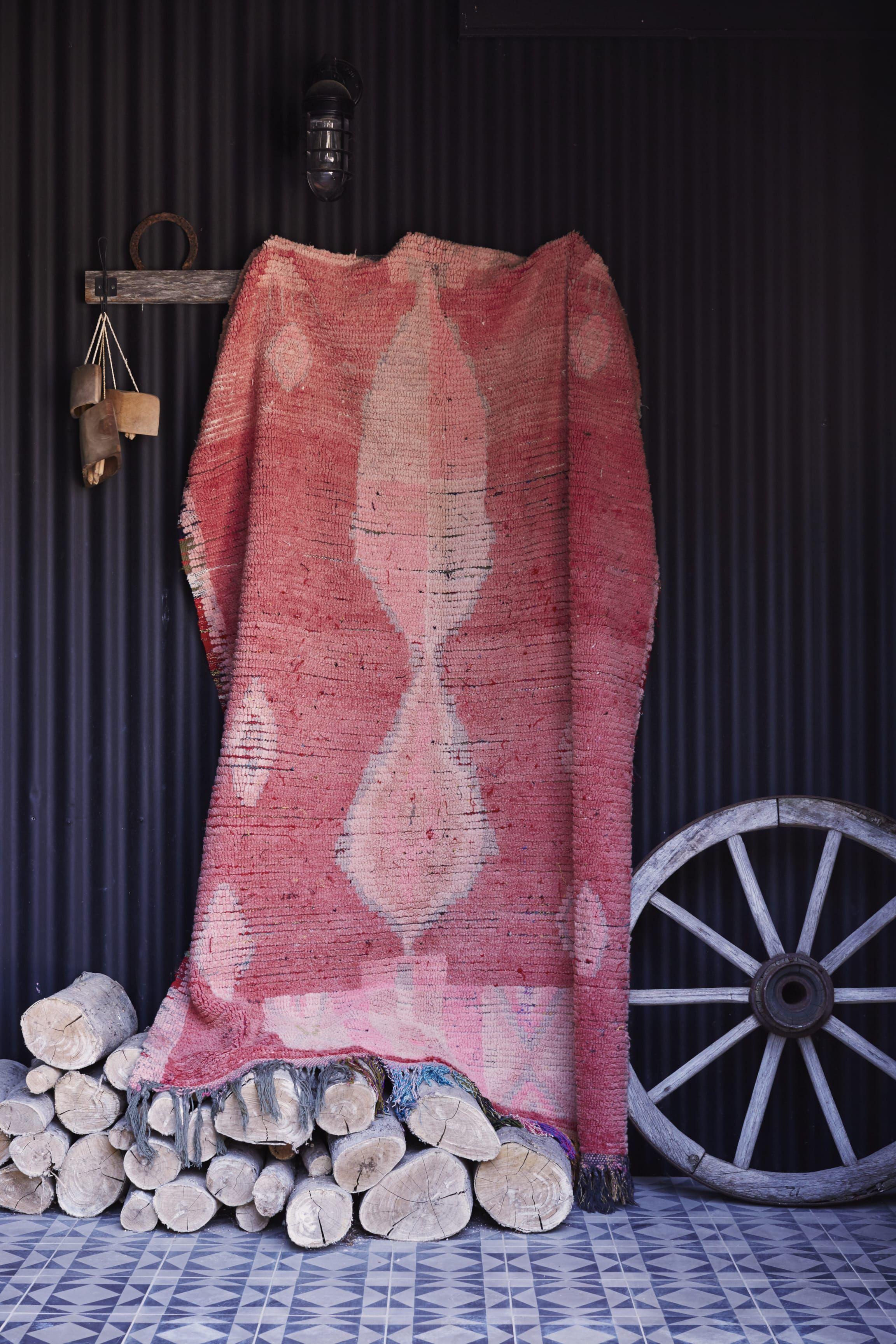Beautiufl salmon pink vintage boujad from Morocco. www.tigmitrading.com