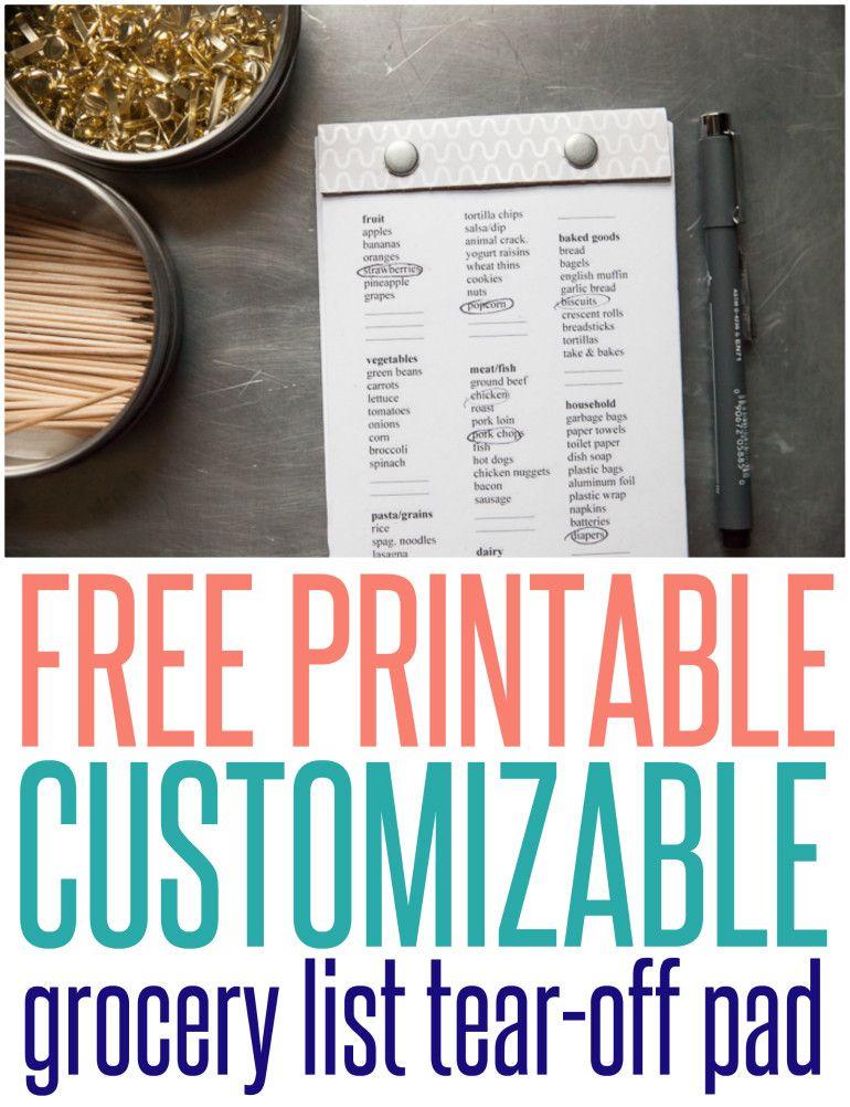 Free Printable Grocery List Tear Off Pad Free printable, Life - grocery list budget spreadsheet