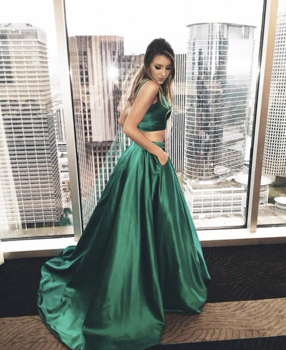 Green backless prom dress  two pieces green long prom dress  Beautiful Dresses  Pinterest
