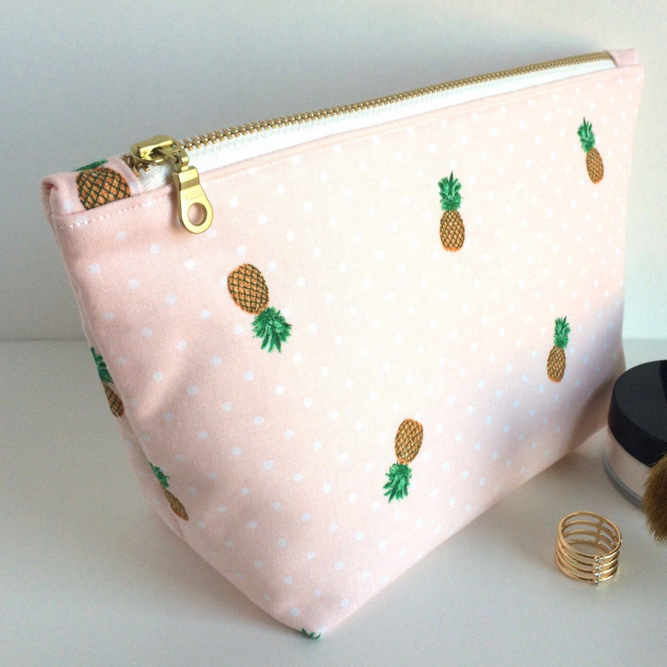 Pink  Pineapple Makeup Bag!! The perfect Summer Bag!! Fun Gift Idea ... 7839bcb4f7ab1