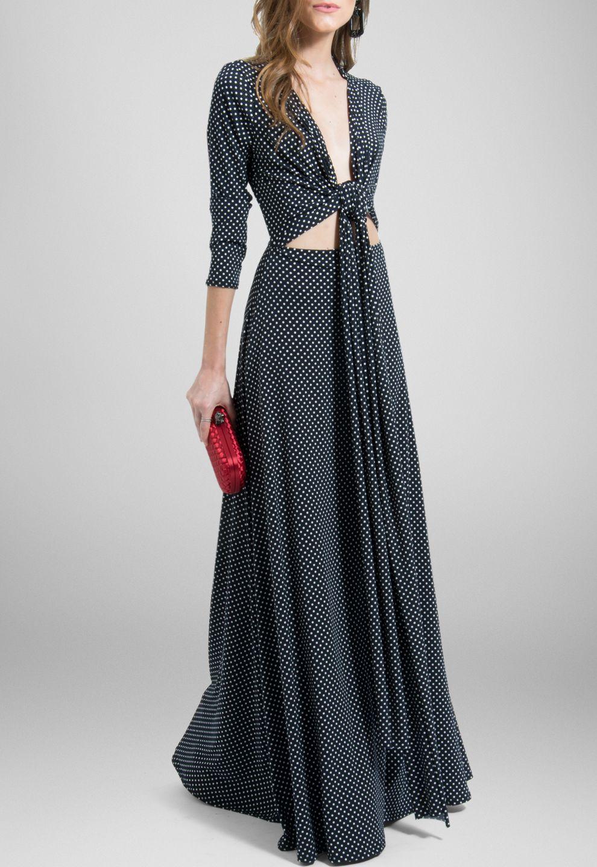 Vestido longo de malha estampa de bolinhas brancas com fundo preto ...