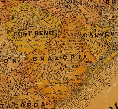 Brazoria County and Ft Bend County Texas 1920s map