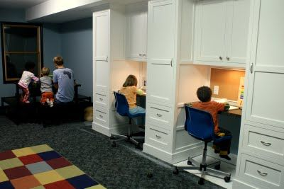 mega cabinets/desks // love this because it's not as easy for the kids to distract each other (you know, when i can afford something like this, I'll have grand kids....)