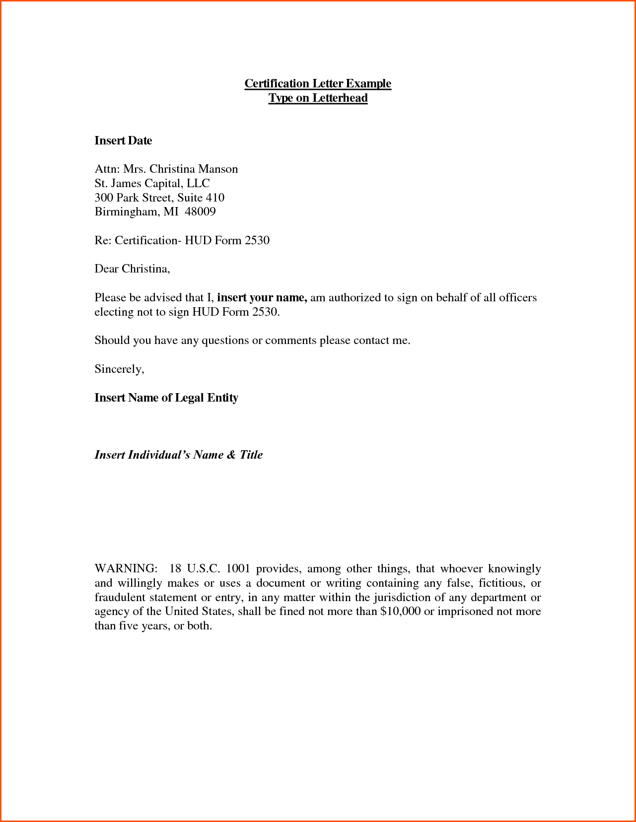 Certification Letter Example Type Samples Employment Verification